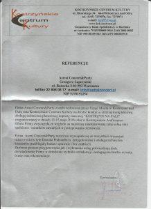 Referencje dla firmy Astral Concert od Kostrzyna nad Odrą