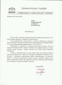 Referencje dla Astral Concert od miasta Mrągowo w 2016 roku
