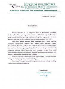 Referencje od Muzeum w Ciechanowcu dla Astral Concert