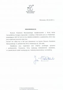 Referencje od Muzeum Powstania Warszawskiego dla firmy Astral