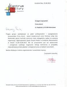 Referencje dla firmy Astral Concert od Miasta Grodzisk Mazowieck