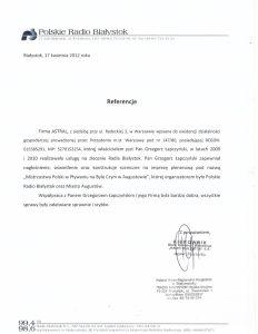 Referencje od Radia Białystok dla Astral Concert