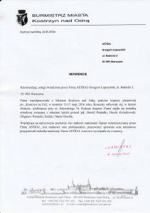 Referencje od burmistrza Kostrzyna nad Odrą dla firmy Astral