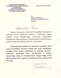 Pozytywna opinia Urzędu Marszałkowskiego Województwa Mazowieckiego w Warszawie dla Astral Concert
