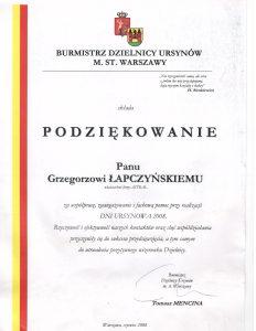 Referencje od władz dzielnicy Ursynów w Warszawie dla firmy Astral Concert